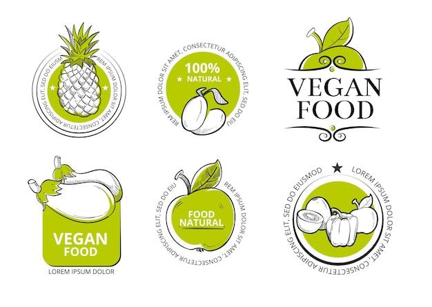 Distintivi e loghi di prodotti biologici bio eco sani.