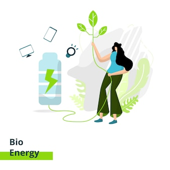 The bio energy landing page, the concept of women carrying leaves