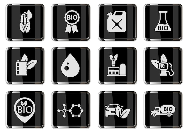Bio fuel pictograms in black chrome buttons. icon set for your design. vector icons