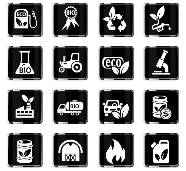 ユーザーインターフェイスデザイン用のバイオ燃料ウェブアイコン
