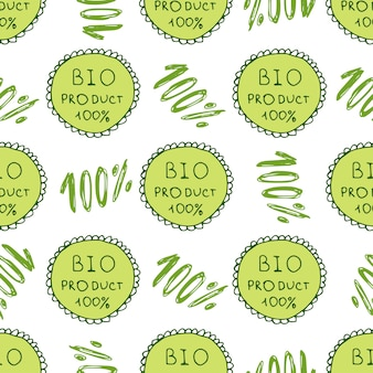 Bio green pattern. eco seamless background. 100% organic natural backdrop.hand drawn texture