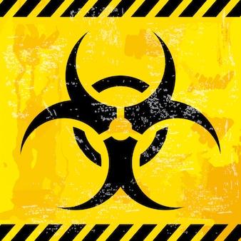 Дизайн био опасностей на желтом фоне векторных иллюстраций