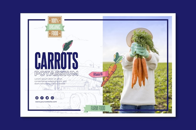 Bio and healthy carrots banner template