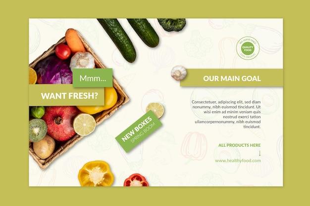Modello di banner di cibo biologico e sano con foto