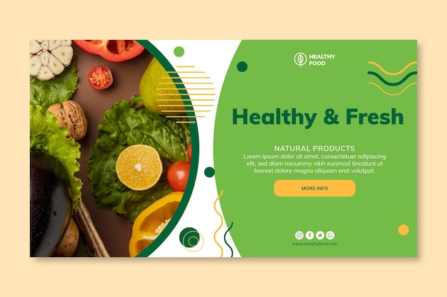 Bio & healthy food banner template