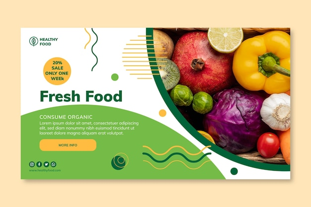 Bio & healthy food banner template