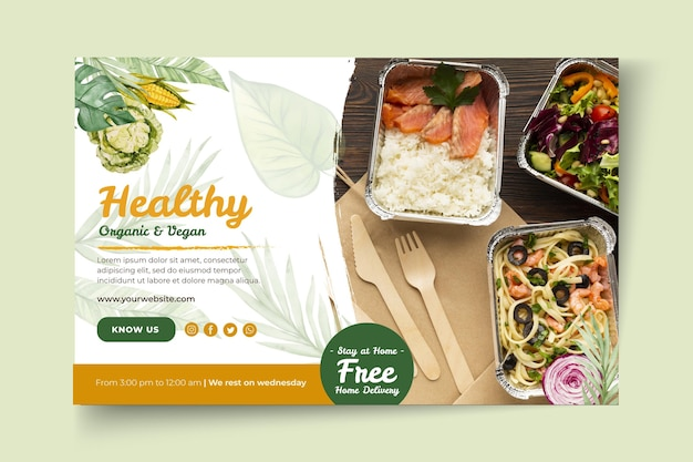 Bio and healthy food banner template