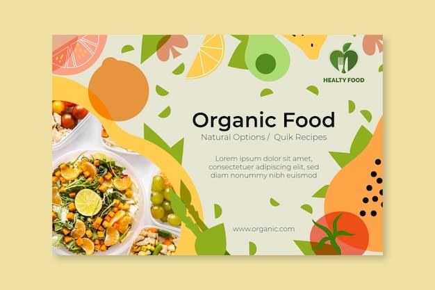 Banner di cibo biologico e sano con foto