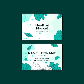 Bio and healthy food business card template