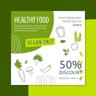 Bio & healthy food flyer square