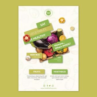 Modello di volantino di cibo biologico e sano con foto