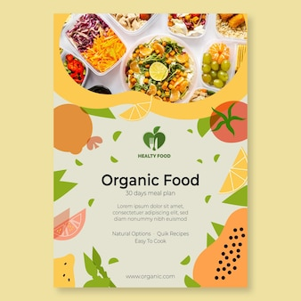 Volantino di cibo biologico e sano con foto