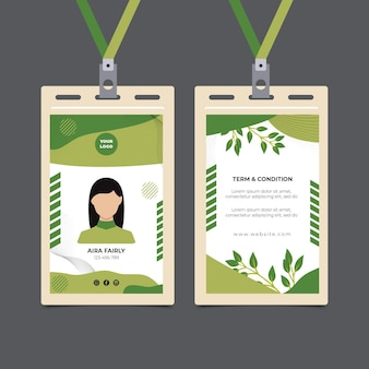 Modello di carta d'identità per alimenti biologici e sani