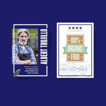 Carta d'identità di alimenti biologici e sani