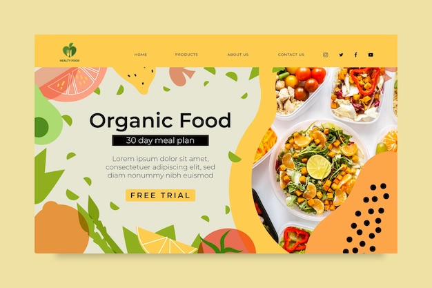 Pagina di destinazione di alimenti biologici e sani con foto