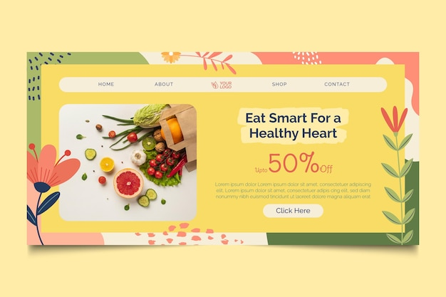 Pagina di destinazione del cibo bio e sano