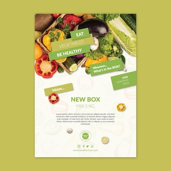 Bio and healthy food poster template with photo