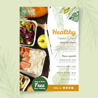 Modello di poster di cibo biologico e sano