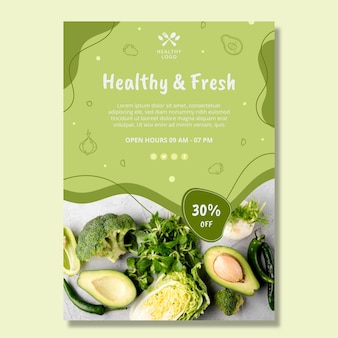 Bio and healthy food poster template Free Vector