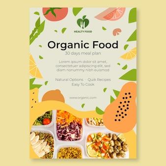 Poster di alimenti biologici e sani con foto
