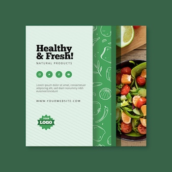 Bio and healthy food square flyer design