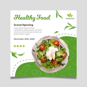 Bio and healthy food square flyer template
