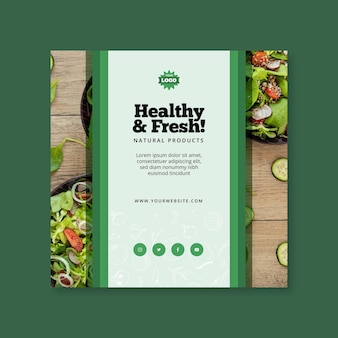 Bio and healthy food square flyer