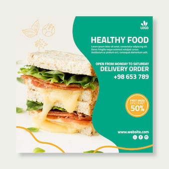 Volantino quadrato di cibo biologico e sano