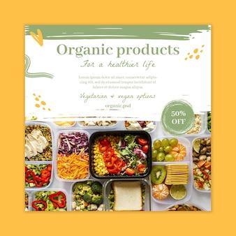 Modello di volantino quadrato di cibo biologico e sano