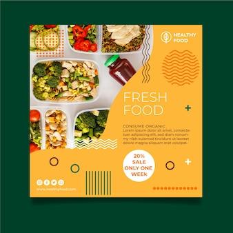 Volantino quadrato cibo bio e salutare
