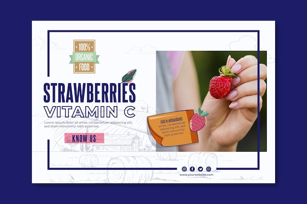Bio and healthy strawberries banner template