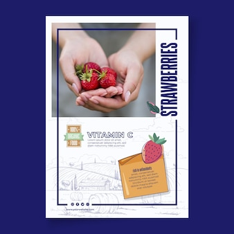 Bio and healthy strawberries poster template