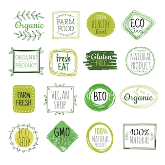 Bio labels. vegan green eco food, gluten free natural farm product labels. fresh organic healthy eat badges vector set. illustration bio and eco badge green