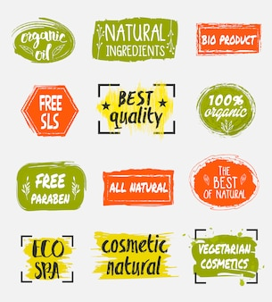 Bio and natural cosmetic product labels set