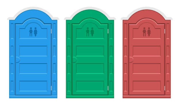 Bio outdoor toilet set  illustration isolated on white