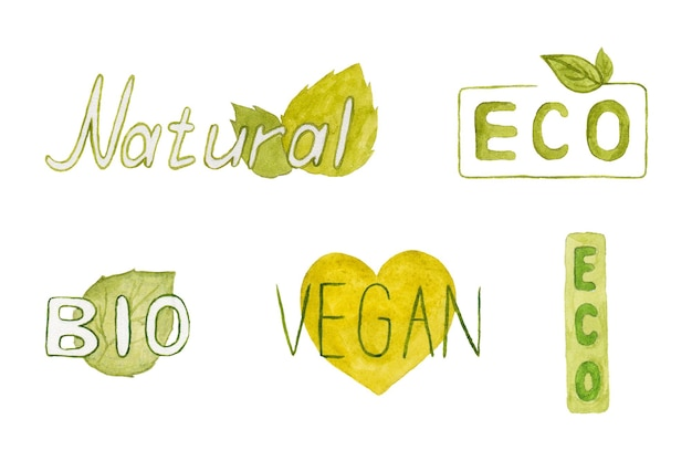 Bio products green watercolor emblems