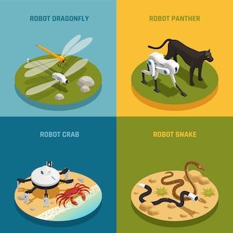 Био роботы изометрические концепция дизайна