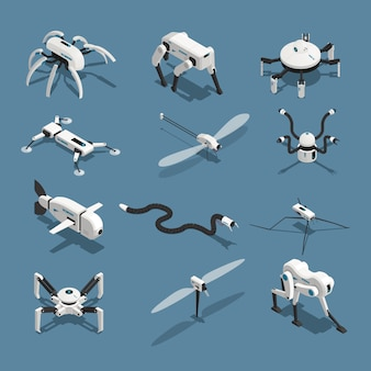 Bio robots isometric icons