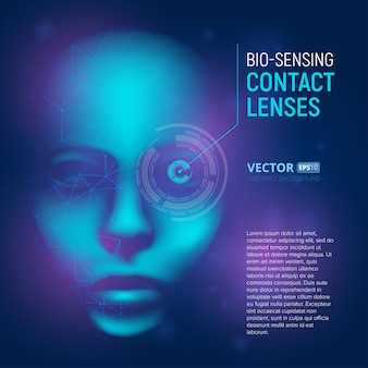 Bio-sensing contact lenses in realistic cyber mind face with polygonal shapes. virtual artificial intelligence.