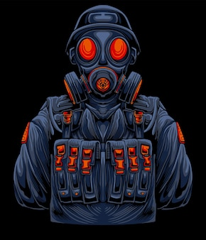 Bio soldier gas mask illustration