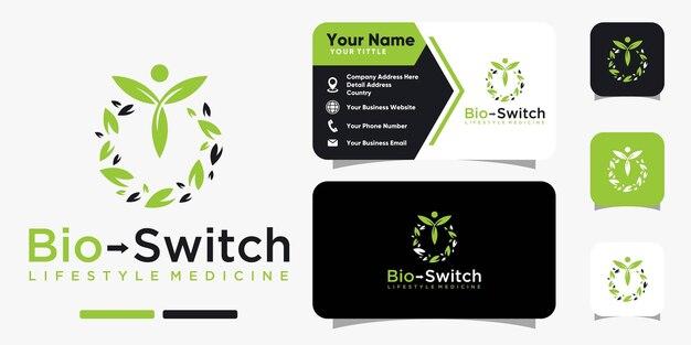 바이오 스위치 잎 자연 로고 및 명함 디자인 벡터 템플릿