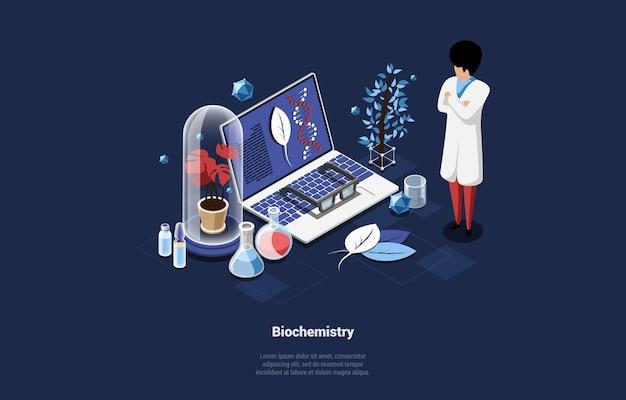 Biochemistry concept illustration on blue dark.