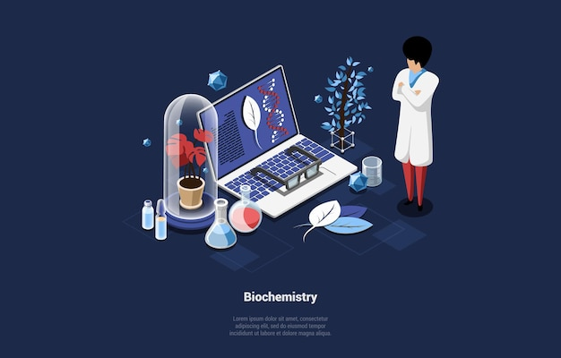 ブルーダークの生化学コンセプトイラスト。