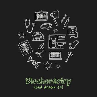 Biochemistry hand drawn doodle set