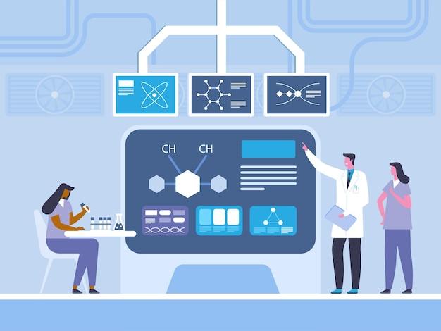 生化学研究フラットベクトルイラスト。医者、アシスタントの漫画のキャラクターと化学者
