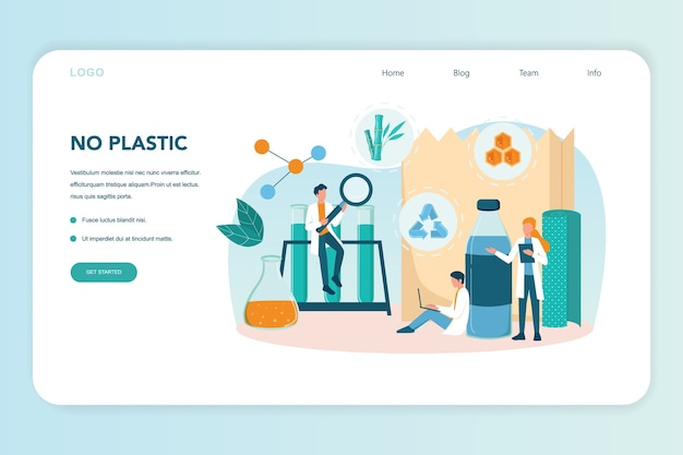 Biodegradable plastic invention and development web landing page. scientist make recyclable and nature friendly packaging. bio plastic and zero waste ecology concept. vector illustration