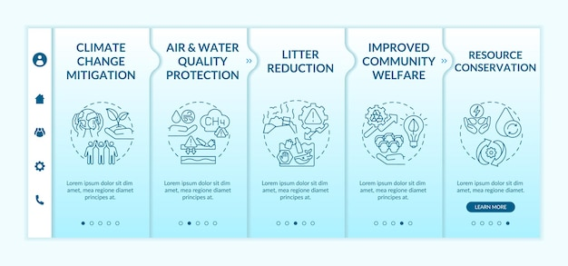 Biodegradable waste reduction benefits onboarding  template. climate change mitigation. litter reducing. responsive mobile website with icons. webpage walkthrough step screens. rgb color concept