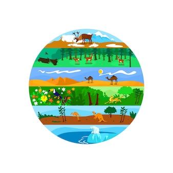 生物多様性2dwebバナー、ポスター。世界的な野生生物。漫画の背景にグローバルネイチャーズバラエティフラット風景。陸域と海洋の生態系の印刷可能なパッチ、カラフルなウェブ要素