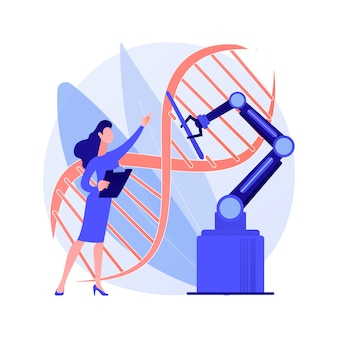 Bioethics abstract concept vector illustration. medical ethics, biological research, dna, genetic biotechnology, biotech researcher, criminal doctor scientist, lab experiment abstract metaphor.
