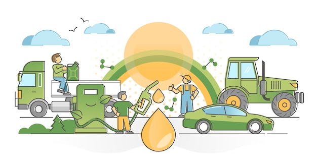 クリーンで排出物のないグリーンな代替燃料油の概要コンセプトとしてのバイオ燃料消費。環境にやさしい車両輸送ポンプ場のイラストを使用した再生可能資源産業。